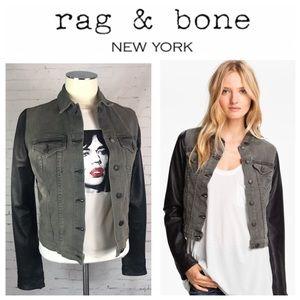 rag and bone Iron Denim Jacket / Leather Sleeves